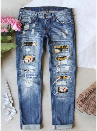Imprimé Grande taille Déchiré Tribal Ancien Jeans