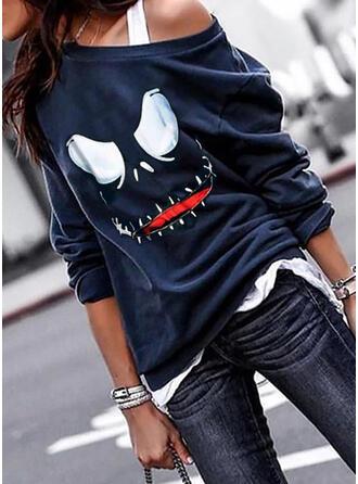 Print Halloween One Shoulder Long Sleeves Sweatshirt