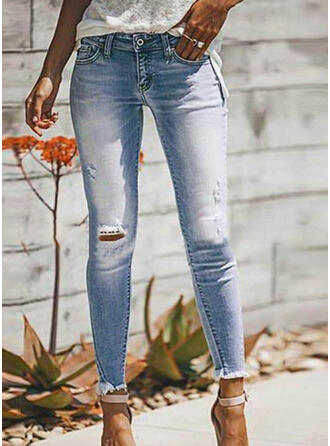 Solid Cotton Long Casual Plus Size Shirred Ripped Pants Denim & Jeans