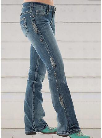 Imprimé Froncé Grande taille Élégante Maigre Jeans