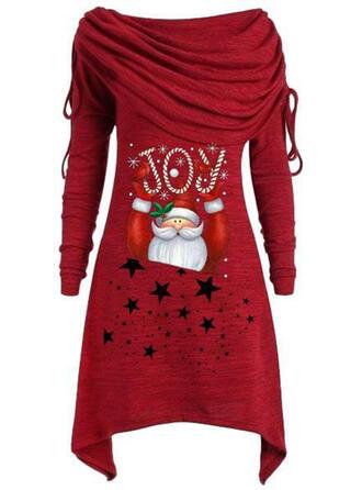 Imprimée Manches Longues Droite Longueur Genou Noël/Décontractée Tunique Robes