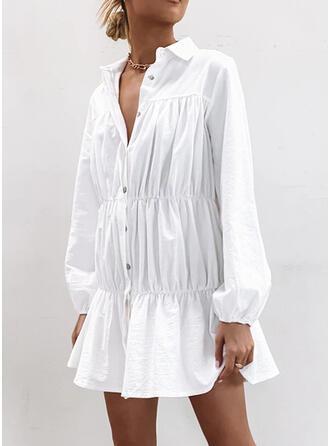 Couleur Unie Manches Longues Droite Au-dessus Du Genou Petites Robes Noires/Décontractée Chemise Robes