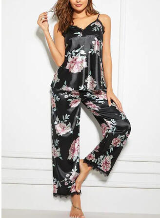 Spandex Dentelle Floral Licou Sexy Col en V Séduisant Ensemble pyjama