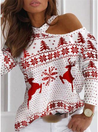 Christmas Print Reindeer Snowflake One Shoulder Long Sleeves Dropped Shoulder Casual Blouses