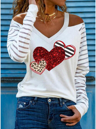 Leopard Heart Print Striped Cold Shoulder Long Sleeves T-shirts