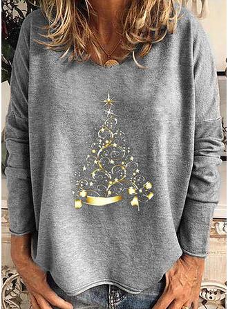 Imprimée Col Rond Manches Longues Décontractée Noël T-shirts
