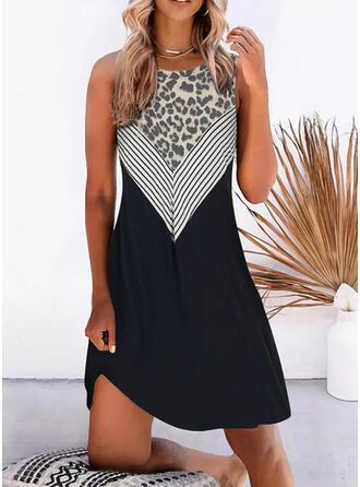 Print/Leopard Sleeveless Shift Knee Length Casual Dresses