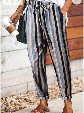 Striped Cordon Longue Décontractée Pantalon