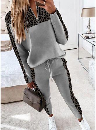 Leopard Casual Plus Size Blouse & Two-Piece Outfits Set