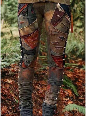 Les poches Froncé Grande taille Tie Dye Déchiré Décontractée Tribal leggings