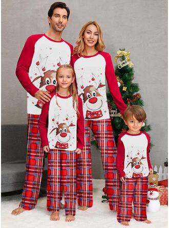 Color Block Plaid Print Family Matching Christmas Pajamas