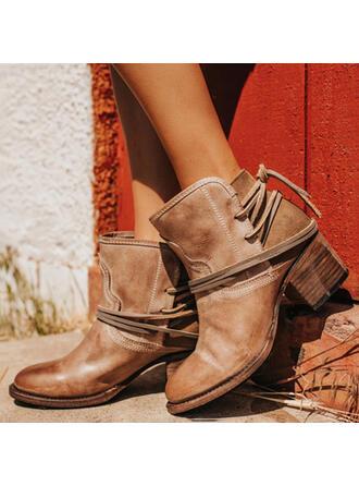 Femmes PU Talon bottier Escarpins Bout fermé Bottes Bottines avec Boucle chaussures