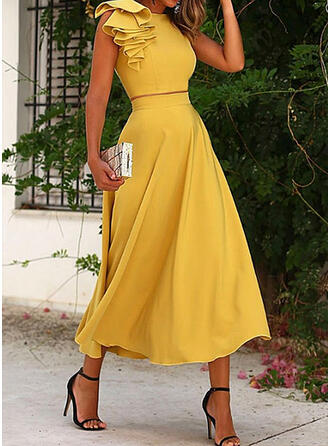 Solid Elegant Plus Size Blouse & Two-Piece Outfits Set