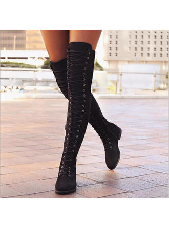 Women's PU Flat Heel Boots Over The Knee Boots With Lace-up shoes