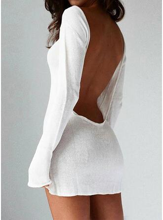 Couleur Unie Manches Longues Moulante Au-dessus Du Genou Sexy Pull Robes
