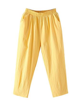 Les poches Froncé Grande taille midi Décontractée Sportif Pantalon