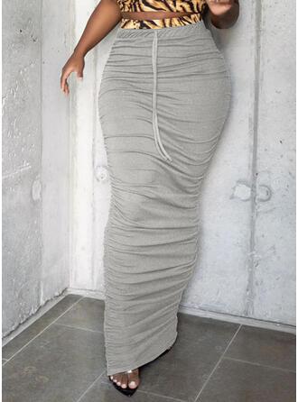 Cotton Blends Plain Maxi Bodycon Skirts