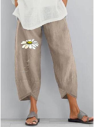 Imprimé Les poches Froncé Grande taille midi Boho Décontractée Fleurie Pantalon