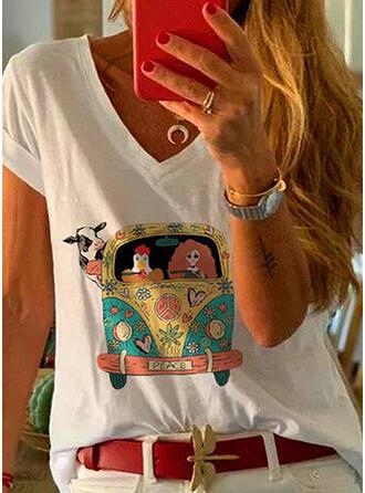 Animal Print Heart V-Neck Short Sleeves T-shirts