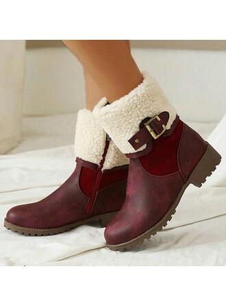 Femmes PU Talon bottier Bottes mi-mollets bout rond avec Boucle Zip chaussures