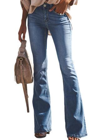 Les poches Froncé Longue Élégante Sexy Maigre Jeans