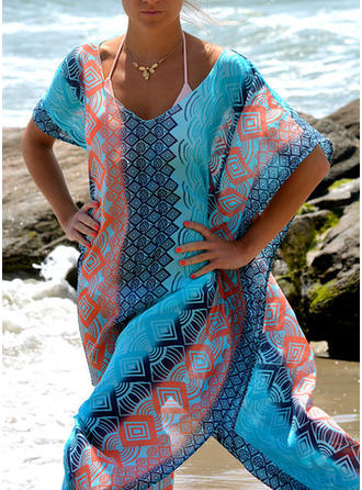 Print Geometric V-Neck Colorful Cover-ups Swimsuits