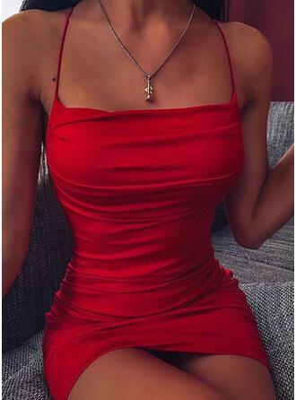 Couleur Unie Sans Manches Moulante Au-dessus Du Genou Sexy/Fête Nuisette Robes