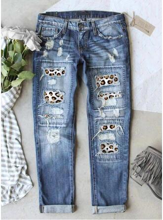 Leopard Tribal Long Vintage Stitching Ripped Pants Denim & Jeans