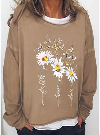Floral Print Letter Animal Round Neck Long Sleeves T-shirts