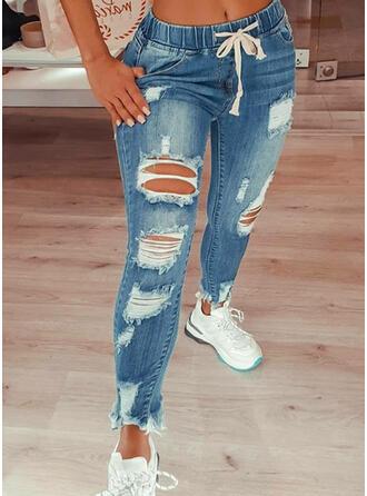 Long Sexy Vintage Ripped Drawstring Pants Denim & Jeans
