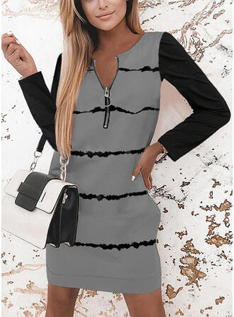 Print/Color Block Long Sleeves Shift Above Knee Casual Tunic Dresses