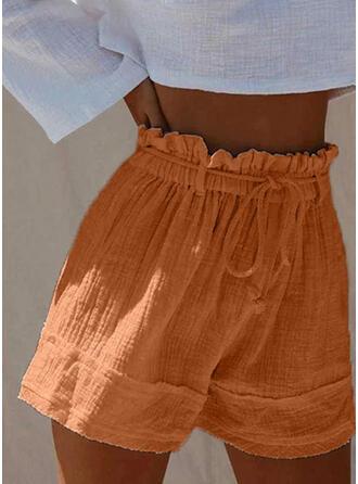 Solid Linen Boho Casual Drawstring Pants Shorts