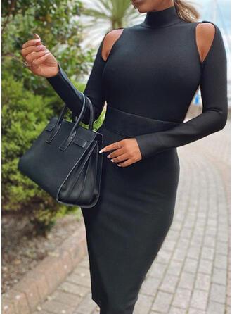 Couleur Unie Manches Longues Moulante Longueur Genou Petites Robes Noires/Sexy Crayon Robes