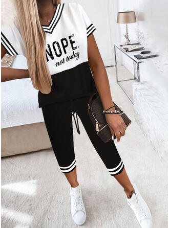 Letter Striped Print Color Block Casual Plus Size Tee & Two-Piece Outfits Set