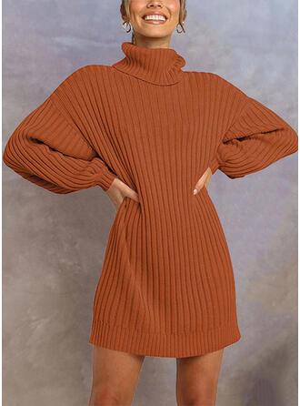 Couleur Unie Col Roulé Décontracté Long Robe Pull