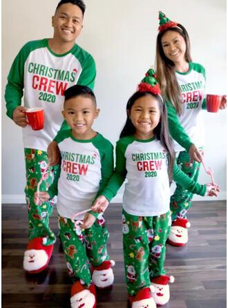 Santa Color Block Letter Family Matching Christmas Pajamas