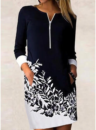 Print/Floral/Color Block Long Sleeves Shift Above Knee Casual/Office/Business Tunic Dresses