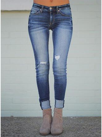 Les poches Froncé Grande taille Longue Sexy Maigre Jeans