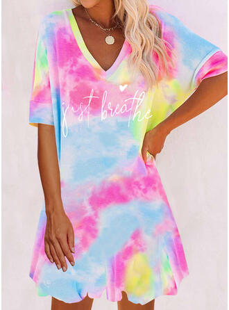 Print/Tie Dye/Heart/Letter 1/2 Sleeves Shift Above Knee Casual T-shirt Dresses