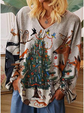 Imprimé Animal Col V Manches Longues Décontractée Noël T-shirts