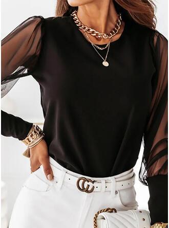 Solid Chiffon Round Neck Long Sleeves Elegant Blouses