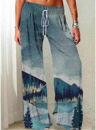 Imprimé Grande taille Cordon Longue Décontractée Pantalon