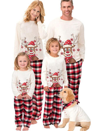 Renne Plaid Dessin Animé Tenue Familiale Assortie Pyjama De Noël