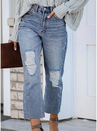 Froncé Déchiré Tondu Élégante Plaine Jeans