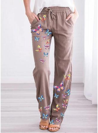 Jacquard Les poches Grande taille Longue Décontractée Imprimé Pantalon