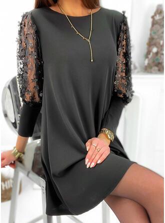 Fleurie/Couleur Unie Manches 3/4 Droite Au-dessus Du Genou Petites Robes Noires/Élégante Tunique Robes