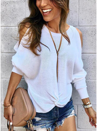 Solid Cold Shoulder Casual Sweaters