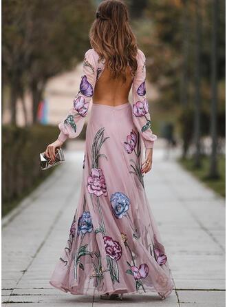 Imprimée/Fleurie Manches Longues/Manches Lanternes Trapèze Patineuse Sexy/Fête Maxi Robes
