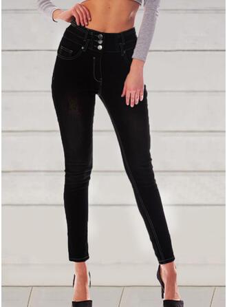 Couleur Unie Froncé Élégante Style Vintage Jeans