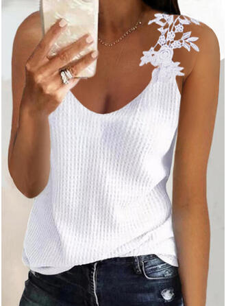 Solid Lace Knit Round Neck Sleeveless Tank Tops